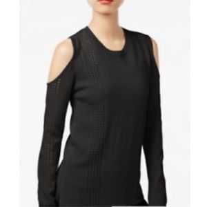 One A Black Open Knit Cold Shoulder Sweater Sz L